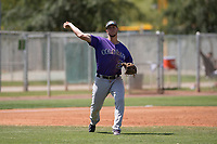 Colorado Rockies third baseman Danny Edgeworth (28) during an Extended Spring Training game against the Chicago Cubs at Sloan Park on April 17, 2018 in Mesa, Arizona. (Zachary Lucy/Four Seam Images)