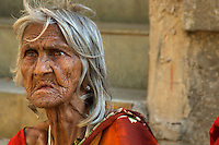 Mumbai, an old women at the Banganga area,India