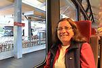 Beth on train from Tasch to Zermatt, Switzerland.