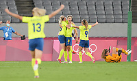 TOKYO, JAPAN - JULY 20: Lina Hurtig #8 of Sweden scores a goal and celebrates during a game between Sweden and USWNT at Tokyo Stadium on July 20, 2021 in Tokyo, Japan.