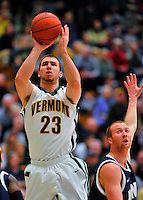 29 January 2012: University of Vermont Catamount forward Brian Voelkel, a Sophomore from Pleasantville, NY, in action against the University of New Hampshire Wildcats at Patrick Gymnasium in Burlington, Vermont. The Catamounts defeated the Wildcats 77-60 in America East play. Mandatory Credit: Ed Wolfstein Photo