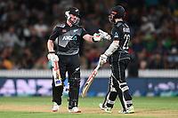 20th December 2020; Hamilton, New Zealand;  Tim Seifert (L) and Kane Williamson, New Zealand Black Caps versus Pakistan, International Twenty20 Cricket. Seddon Park, Hamilton, New Zealand.