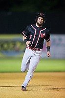 Conrad Gregor (3) of the New Jersey Jackals hustles towards third base against the Sussex County Miners at Skylands Stadium on July 29, 2017 in Augusta, New Jersey.  The Miners defeated the Jackals 7-0.  (Brian Westerholt/Four Seam Images)