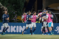 FOXBOROUGH, MA - JULY 27:  Revolution players celebrate the goal from the penalty kick at Gillette Stadium on July 27, 2019 in Foxborough, Massachusetts.