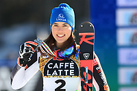 20th February 2021; Cortina d'Ampezzo, Italy; FIS Alpine World Ski Championships, Women's Slalom, Petra VLHOVA with her silver medal for 2nd place