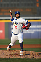 Aldry Acosta (30) of the Rancho Cucamonga Quakes pitches against the Visalia Rawhide at LoanMart Field on June 17, 2021 in Rancho Cucamonga, California. (Larry Goren/Four Seam Images)
