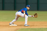 AZL Cubs 2 second baseman Reivaj Garcia (24) prepares to catch a throw from the catcher on a stolen base attempt by Cristopher Cespedes (30) during an Arizona League game against the AZL Indians 2 at Sloan Park on August 2, 2018 in Mesa, Arizona. The AZL Indians 2 defeated the AZL Cubs 2 by a score of 9-8. (Zachary Lucy/Four Seam Images)
