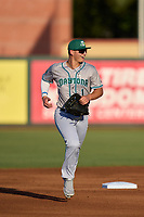 Daytona Tortugas outfielder Austin Hendrick (1) jogs to the dugout during a game against the Palm Beach Cardinals on May 4, 2021 at Roger Dean Stadium in Jupiter, Florida.  (Mike Janes/Four Seam Images)
