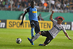 09.08.2019, BWT-Stadion am Hardtwald, Sandhausen, GER, DFB Pokal, 1. Runde, SV Sandhausen vs. Borussia Moenchengladbach, <br /> <br /> DFL REGULATIONS PROHIBIT ANY USE OF PHOTOGRAPHS AS IMAGE SEQUENCES AND/OR QUASI-VIDEO.<br /> <br /> im Bild: Denis Linsmayer (#6, SV Sandhausen) gegen Marcus Thuram (#10, Borussia Moenchengladbach)<br /> <br /> Foto © nordphoto / Fabisch