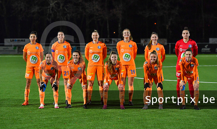 Gent players pictured with Jolet Lommen  ,  Silke Vanwynsberghe , Ella Van Kerkhoven , Lobke Loonen , Fran Meersman , Nicky Evrard , Rkia Mazrouai , Emma Van Britsom , Lyndsey Van Belle , Imani Prez and Chloe Vande Velde posing for the teampicture during a female soccer game between  Racing Genk Ladies and AA Gent Ladies on the eleventh matchday of the 2020 - 2021 season of Belgian Scooore Womens Super League , friday 22 th of January 2021  in Genk , Belgium . PHOTO SPORTPIX.BE | SPP | DAVID CATRY