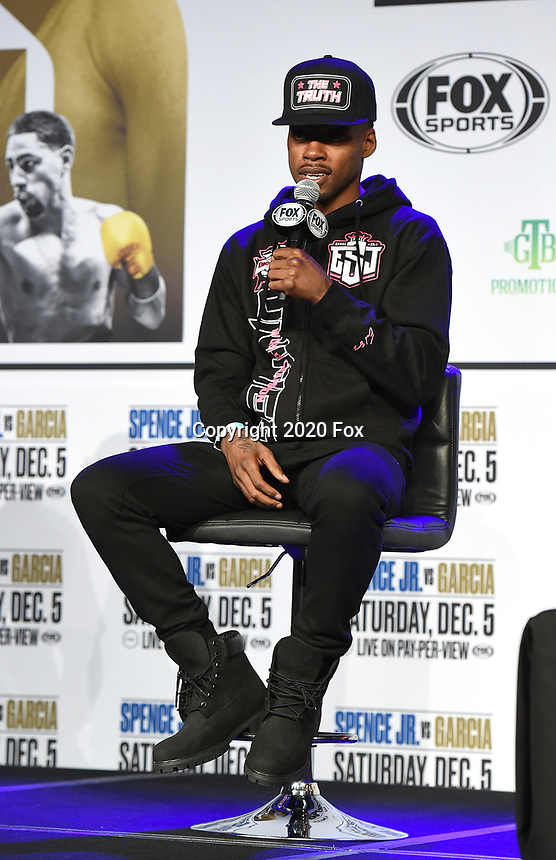 DALLAS, TX - DECEMBER 2: Errol Spence Jr. appears at a press conference for his December 5, 2020 Fox Sports PBC Pay-Per-View title fight against Danny Garcia at AT&T Stadium in Arlington, Texas. (Photo by Frank Micelotta/Fox Sports)