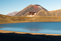 Blue Lake and Mount Ngaruhoe, Tongariro National Park, Central Plateau, North Island, UNESCO World Heritage Area, New Zealand, NZ