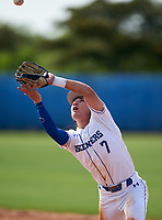 IMG Academy Ascenders Navy second baseman Owen Cravens (7) during a game against Victory Charter School on April 1, 2021 at IMG Academy in Bradenton, Florida.  (Mike Janes/Four Seam Images)