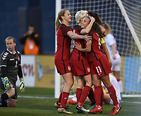 San Diego, CA - Sunday January 21, 2018: Megan Rapinoe, Mallory Pugh prior to an international friendly between the women's national teams of the United States (USA) and Denmark (DEN) at SDCCU Stadium.