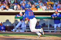 Tennessee Smokies first baseman Jason Vosler (22) swings at a pitch during a game against the Mobile BayBears at Smokies Stadium on June 2, 2018 in Kodak, Tennessee. The BayBears defeated the Smokies 1-0. (Tony Farlow/Four Seam Images)