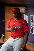 Clearwater Threshers pitcher McKenzie Mills (27) in the dugout during a game against the Tampa Tarpons on April 22, 2018 at George M. Steinbrenner Field in Tampa, Florida.  Clearwater defeated Tampa 2-1 (Mike Janes/Four Seam Images)
