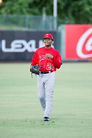 AZL Angels Caleb Scires (24) warms up in the outfield prior to the game against the AZL White Sox on August 14, 2017 at Diablo Stadium in Tempe, Arizona. AZL Angels defeated the AZL White Sox 3-2. (Zachary Lucy/Four Seam Images)