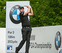 23.05.2015. Wentworth, England. BMW PGA Golf Championship. Round 3.  James Morrison [ENG] tee shot 5th hole, during the third round of the 2015 BMW PGA Championship from The West Course Wentworth Golf Club