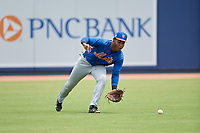GCL Mets left fielder Edinson Valdez (3) fields the ball in the outfield during the second game of a doubleheader against the GCL Nationals on July 22, 2017 at The Ballpark of the Palm Beaches in Palm Beach, Florida.  GCL Mets defeated the GCL Nationals 4-1.  (Mike Janes/Four Seam Images)