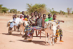 "In West Africa, certain villages have markets that ""assemble"" at regular intervals, such as weekly or every three days.  People from villages around the region come on market day to buy and sell food, livestock, and other goods and services.  In this photo, a group of Tuareg women ride a donkey cart to the Bourro market in northern Burkina Faso."