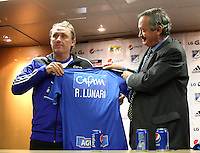 BOGOTA-COLOMBIA- 12-SEPTIEMBRE-2014. Conferencia de prensa con el nuevo director tecnico de Millonarios el argentino Ricardo Lunari en el estadio El Campin. De izquierda a derecha: Ricardo Lunari , Enrique Camacho presidente de Millonarios , Emanuel Lillini ,  :/ Press Conference with the new coach  of the Argentine Ricardo Lunari of Millonarios in El Campin stadium. Left to Right :Ricardo Lunari , Enrique Camacho President of Millonarios   , Emanuel Lillini .<br /> .Photo / VizzorImage / Felipe Caicedo / Stringer