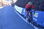 Vincenzo Nibali (ITA) Bahrain-Merida attacks alone on the Poggio di Sanremo during the 109th edition of Milan-Sanremo 2018 running 294km from Milan to Sanremo, Italy. 17th March 2018.<br /> Picture: LaPresse/POOL Tim De Waele| Cyclefile<br /> <br /> <br /> All photos usage must carry mandatory copyright credit (© Cyclefile | LaPresse/POOL Tim De Waele)
