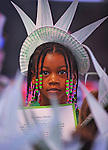 Eboni McCarty wears a Statue of Liberty hat.  Students at Legacy Academy in Madison celebrated Independence Day Thursday afternoon with a parade at the school.     Bob Gathany photo.