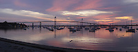 A panoramic capture of Jamestown Harbor from East Ferry
