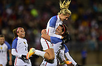 East Hartford, Conn. - April 6, 2016: The U.S. Women's National team take a 4-0 lead over Colombia with a goal from Allie Long at intermission in an international friendly match at Pratt & Whitney Stadium.