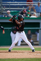 Batavia Muckdogs Brayan Hernandez (23) bats during a NY-Penn League game against the Auburn Doubledays on June 19, 2019 at Dwyer Stadium in Batavia, New York.  Batavia defeated Auburn 5-4 in eleven innings in the completion of a game originally started on June 15th that was postponed due to inclement weather.  (Mike Janes/Four Seam Images)