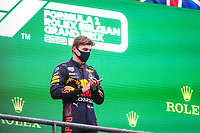 29th August 2021; Spa Francorchamps, Stavelot, Belgium: FIA F1 Grand Prix of Belgium,  race day: podium VERSTAPPEN Max (ned), Red Bull Racing Honda RB16B on the podium after the formation laps in heavy rain before cancellation of the race due to standing water
