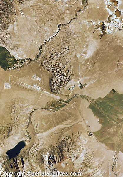 aerial photograph of Mammoth Yosemite Airport (MMH) and the Hot Creek hot springs area, Mammoth Lakes, Mono County, California