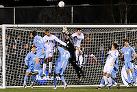 North Carolina Tar Heals goalkeeper Brooks Haggerty (1) punches a ball clear. The Akron Zips defeated the North Carolina Tar Heals 5-4 in penalty kicks after playing a scoreless game during the second semi-final match of the 2009 NCAA Men's College Cup at WakeMed Soccer Park in Cary, NC on December 11, 2009.