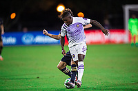 LAKE BUENA VISTA, FL - JULY 20: Sebastian Mendez #8 of Orlando City SC battles for the ball during a game between Orlando City SC and Philadelphia Union at Wide World of Sports on July 20, 2020 in Lake Buena Vista, Florida.