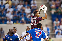 Honduras goalkeeper Donis Escober (22) grabs a pass. Honduras defeated Haiti 2-0 during a CONCACAF Gold Cup group B match at Red Bull Arena in Harrison, NJ, on July 8, 2013.