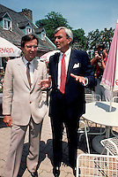 Montreal (QC)CANADA - 1988 File Photo<br /> Quebec Premier and<br /> Liberal Provincial Leader Robert Bourassa (L) meet with <br /> David Peterson, Ontario Premier