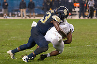 Pitt linebacker Oluwaseun Idowu (23) tackles a Penn State ball carrier. The Penn State Nittany Lions defeated the Pitt Panthers 51-6 on September 08, 2018 at Heinz Field in Pittsburgh, Pennsylvania.