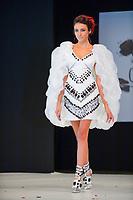 Delphine Wespiser portant la robe de Tae Ashida et Hironobu Tsujigushi au Salon du Chocolat coiffure Franck Provost maquillage Make Up For Ever Paris 2017 - SALON DU CHOCOLAT 2017, 27/10/2017, PARIS, FRANCE