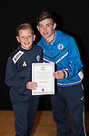 St Johnstone FC Academy Awards Night...06.04.15  Perth Concert Hall<br /> Craig Thomson presents a certificate to Lewis Finnie<br /> Picture by Graeme Hart.<br /> Copyright Perthshire Picture Agency<br /> Tel: 01738 623350  Mobile: 07990 594431