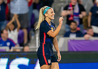 ORLANDO, FL - MARCH 05: Julie Ertz #8 of the United States reacts to a missed chance on goal during a game between England and USWNT at Exploria Stadium on March 05, 2020 in Orlando, Florida.