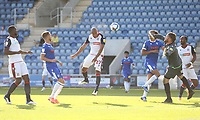 Bolton Wanderers' Alex Baptiste scores with a header in the second half but the goal was disallowed<br /> <br /> Photographer Rob Newell/CameraSport<br /> <br /> The EFL Sky Bet League Two - Colchester United v Bolton Wanderers - Saturday 19th September 2020 - Colchester Community Stadium - Colchester<br /> <br /> World Copyright © 2020 CameraSport. All rights reserved. 43 Linden Ave. Countesthorpe. Leicester. England. LE8 5PG - Tel: +44 (0) 116 277 4147 - admin@camerasport.com - www.camerasport.com