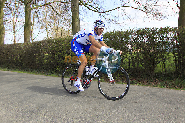 The breakaway group led by David Boucher (FRA) FDJ-Big Mat approach the start of the Oude Kwaremont climb during the 96th edition of The Tour of Flanders 2012, running 256.9km from Bruges to Oudenaarde, Belgium. 1st April 2012. <br /> (Photo by Eoin Clarke/NEWSFILE).