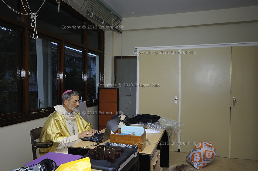 Last minute e-mail check in dressing room before the march start to ST. Petrus and Paulus Cathedral.....Blessing and First Worship of ST. Petrus and Paulus Cathedral (AKA World's largest wooden cathedral)