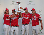 WELLINGTON, FL - FEBRUARY 19: Coca Cola holds the winners trophy up high after defeating Tonkawa 9 - 8 in overtime with a Golden Goal on a Penalty 2 by Julio Arellano, at the International Polo Club, Palm Beach on February 19, 2017 in Wellington, Florida. (Photo by Liz Lamont/Eclipse Sportswire/Getty Images)