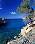 Spanien, Balearen, Ibiza (Eivissa): Bucht von Platja de St. Miquel im Norden | Spain, Balearic Islands, Ibiza (Eivissa): Bay of Platja de St. Miquel