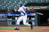 Michael Smiciklas (16) of the Duke Blue Devils follows through on his swing against the Virginia Cavaliers in Game Seven of the 2017 ACC Baseball Championship at Louisville Slugger Field on May 25, 2017 in Louisville, Kentucky.  The Blue Devils defeated the Cavaliers 4-3 to advance to the Semi-Finals. (Brian Westerholt/Four Seam Images)