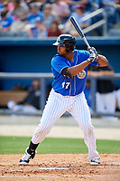 Biloxi Shuckers first baseman Art Charles (47) at bat during a game against the Jackson Generals on April 23, 2017 at MGM Park in Biloxi, Mississippi.  Biloxi defeated Jackson 3-2.  (Mike Janes/Four Seam Images)
