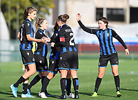 Brugge's players with Brugge's Marie Minnaert , Brugge's Celien Guns , Brugge's Ellen Martens and Brugge's Debbie Decoene pictured celebrating after scoring during a female soccer game between the women teams of Club Brugge YLA Dames and Union Saint-Ghislain Tertre-Hautrage Ladies on the 1/16 th qualifying round for the Belgian Womens Cup 2020  2021 , on saturday 26 th of September 2020  in Brugge , Belgium . PHOTO SPORTPIX.BE | SPP | DAVID CATRY