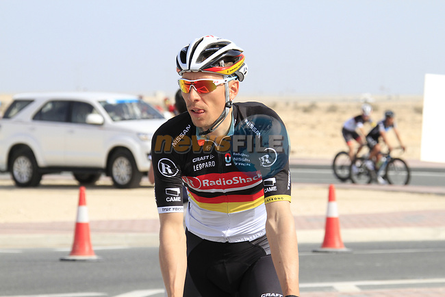 Radioshack-Nissan Trek rider Robert Wagner (GER) warms up before the 2nd Stage of the 2012 Tour of Qatar an 11.3km team time trial at Lusail Circuit, Doha, Qatar. 6th February 2012.<br /> (Photo Eoin Clarke/Newsfile)