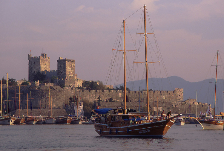 Asia, TUR, Turkey, Aegean Coast, Marmaris, Bodrum, Sailing ship, Port, Bay harbour, Castle of St John